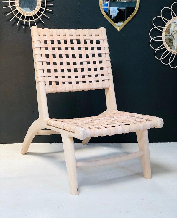 fauteuil cuir et noyer