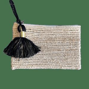 Pochette Raphia avec zip & pompon