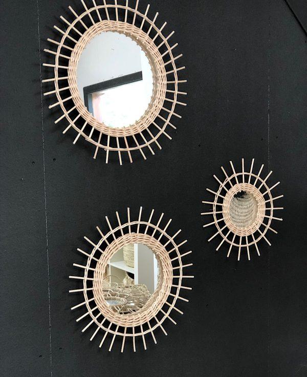 Miroir Rotin Soleil - 3 tailles