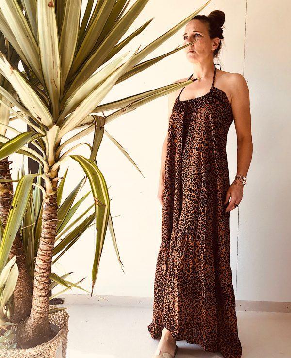 Robe longue leopard