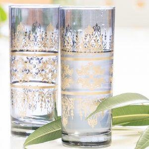 verres à soft bleu et or