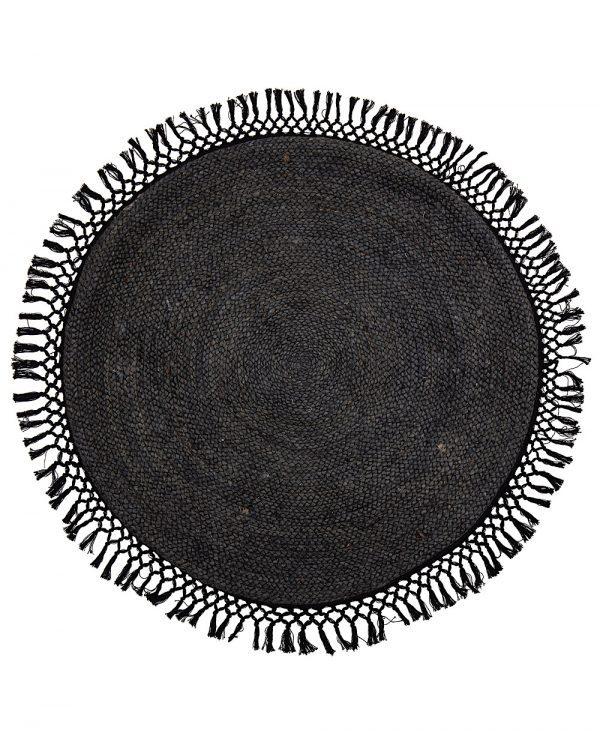 tapis jute rond noir